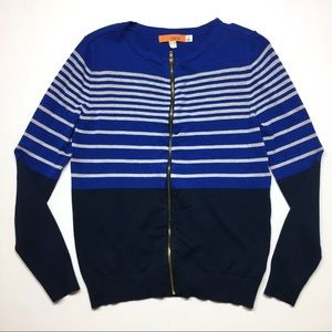 One A Striped Zip Sweater Cardigan Blue White S